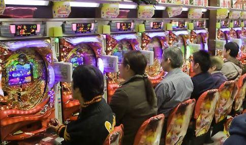 pachinko (Japanese-style pinball gamble)