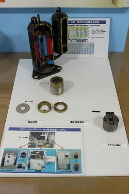 The neodymium magnet (on the right) was extracted from an air conditioner compressor.