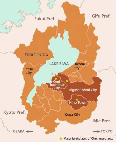 Ohmi merchants on the map