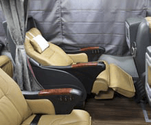 Seats of a long distance bus in Japan can recline up to 145 degrees