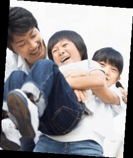Japanese fathers playing with kids