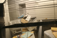A simulation of an office after a major earthquake
