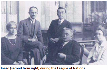 Inazo (second from right) during the League of Nations