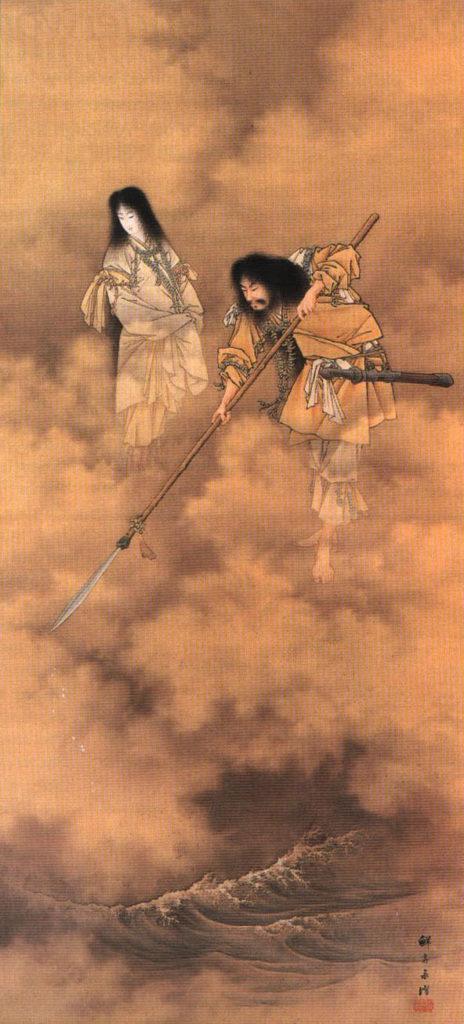 Painting of Izanagi (right) and Izanami by Kobayashi Eitaku