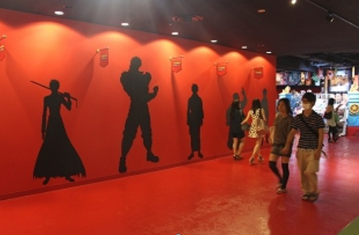 Life-size silhouettes of some characters in the park