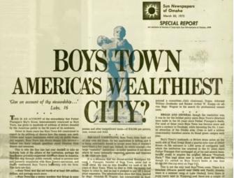 『オマハ・サン』がボーイズ・タウンの財務状況を暴露した記事(1972年3月30日発行)