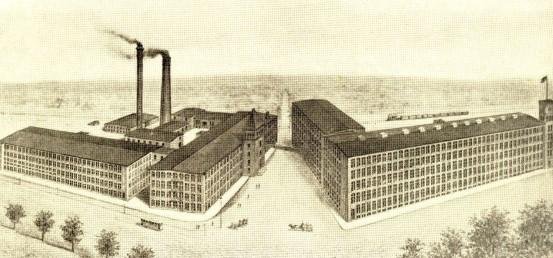 1889年創業の Berkshire Cotton Manufacturing Company(イラスト)と同時期に創業されたHathaway Manufacturing Companyが1955年に統合してバークシャー・ハサウェイが誕生した。