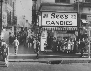 1921年創業のSee's Candies の店舗(撮影日時不明)。高品質の材料で作られたお菓子はブランド価値も高かった。現在、日本にも輸入販売されている。写真提供: See's Candies