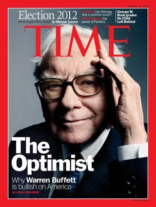 『TIME』(2012年1月23日号)の表紙を飾ったバフェット。アメリカ経済に楽観的だとするバフェットの意見を紹介している。